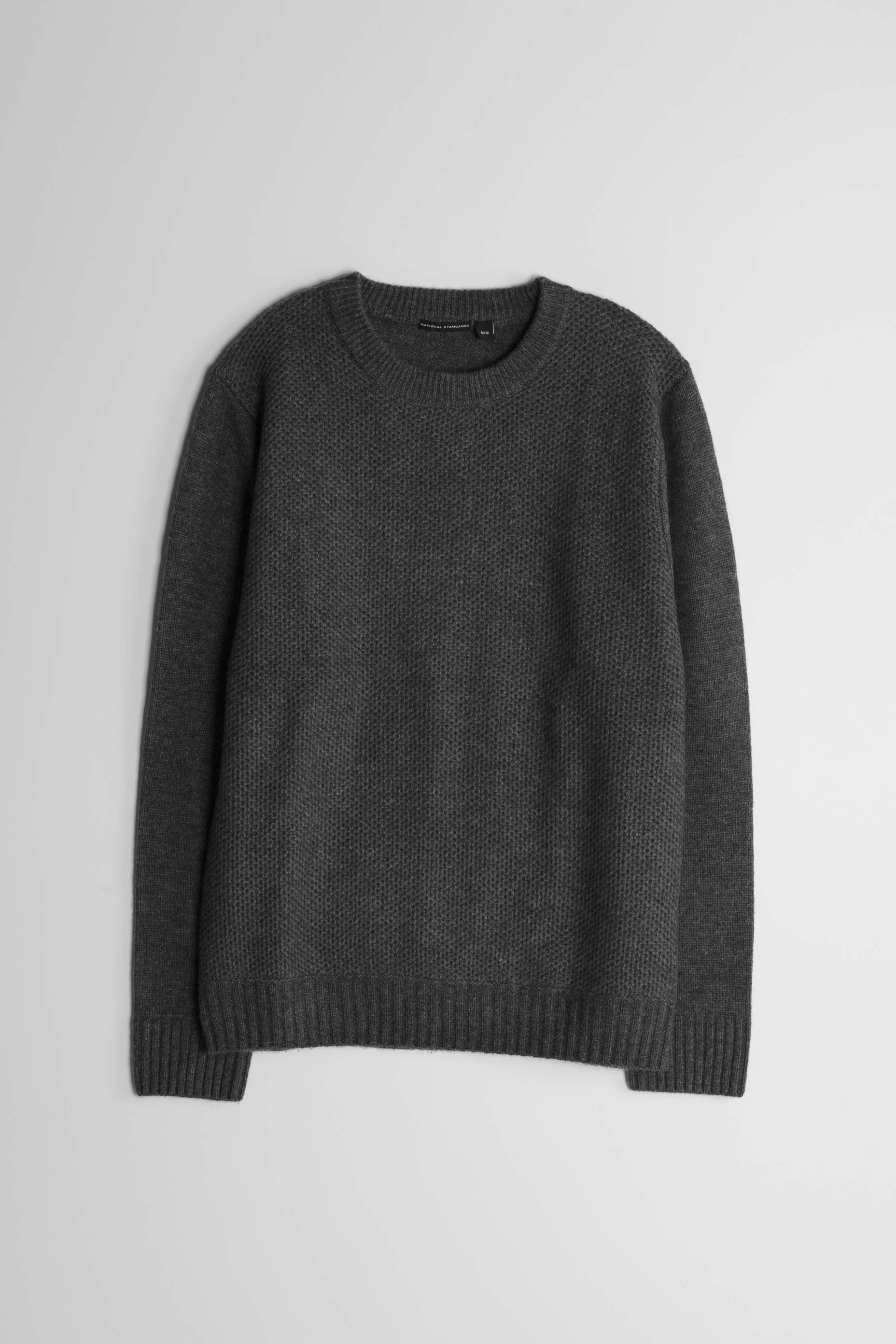 Lambswool Heavy Gauge Crew in Grey 01