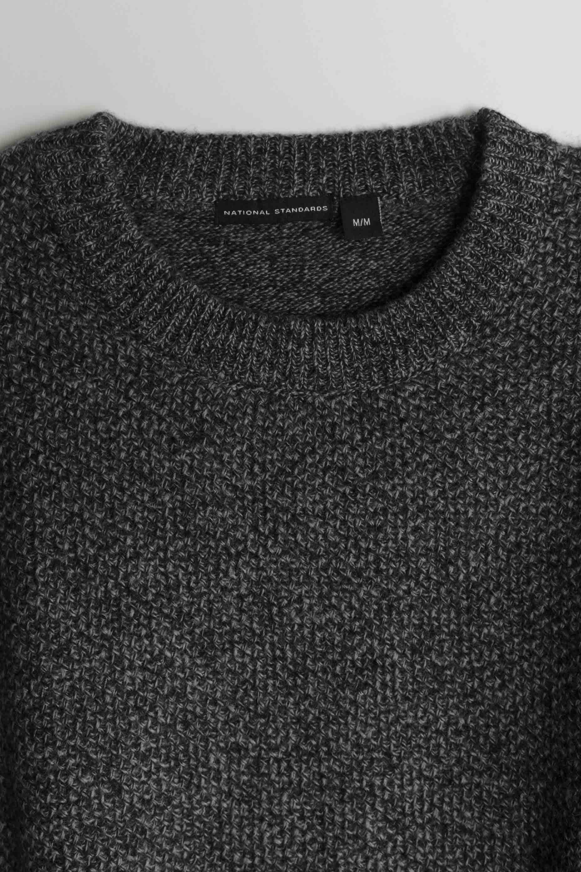 Lambswool Heavy Gauge Crew in Melange Black 02