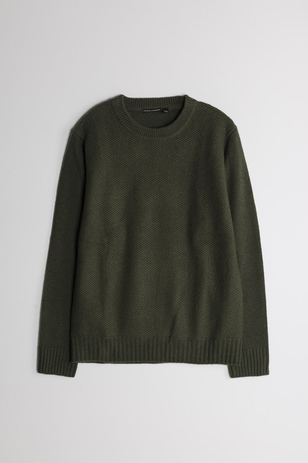 Lambswool Heavy Gauge Crew in Army Green 01