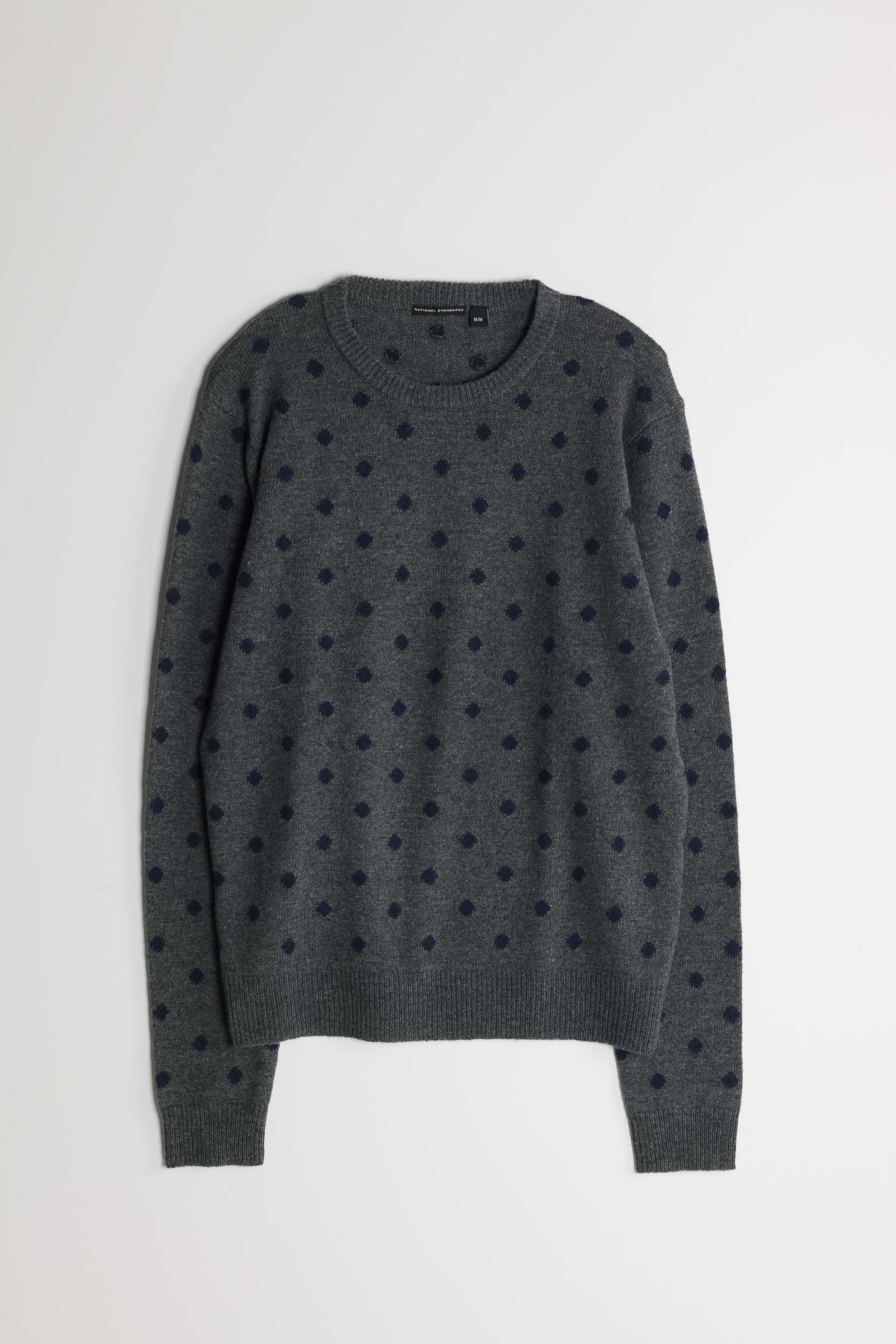 Lambswool Polka Dot Crew in Grey 01