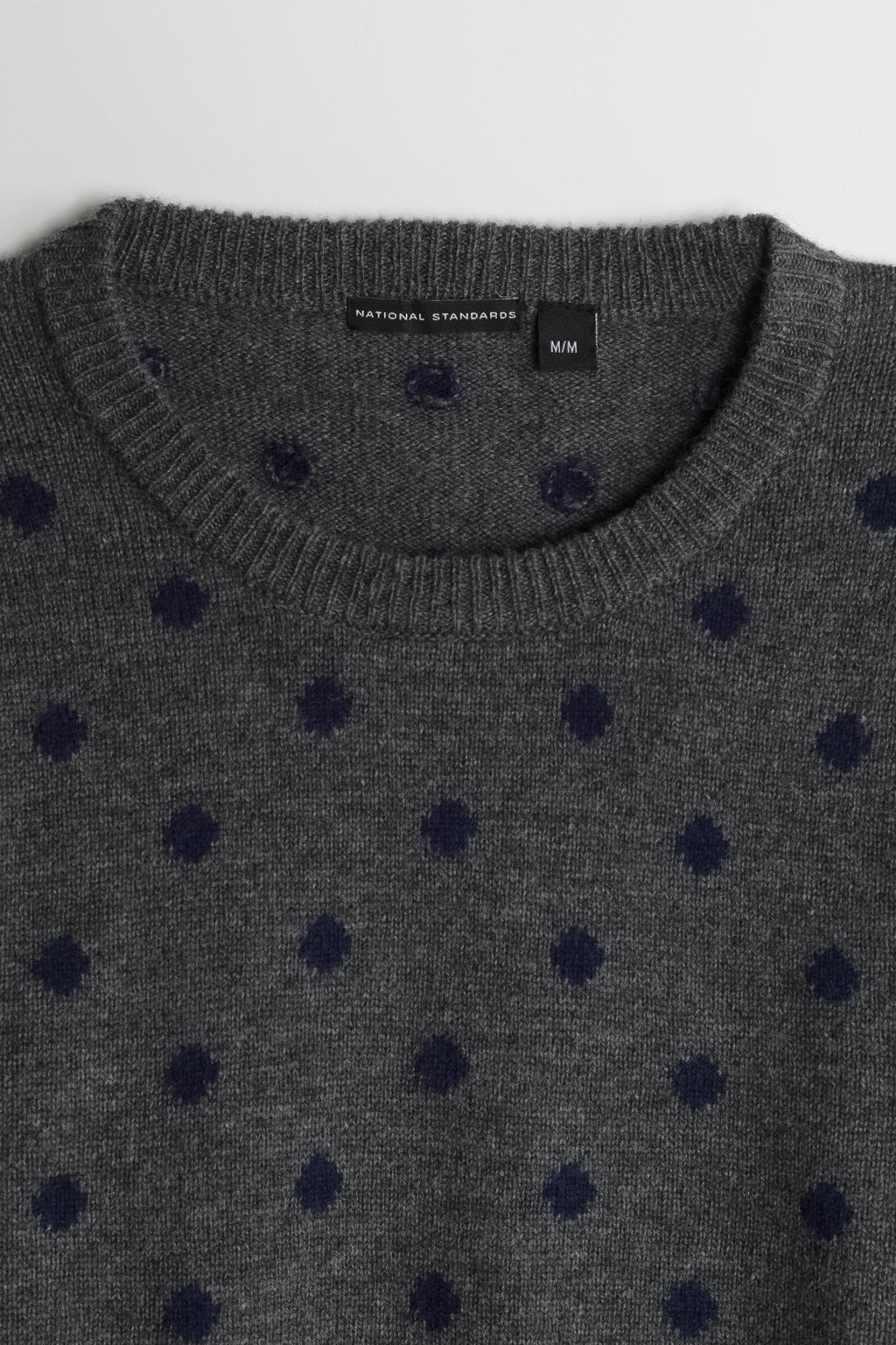 Lambswool Polka Dot Crew in Grey 02
