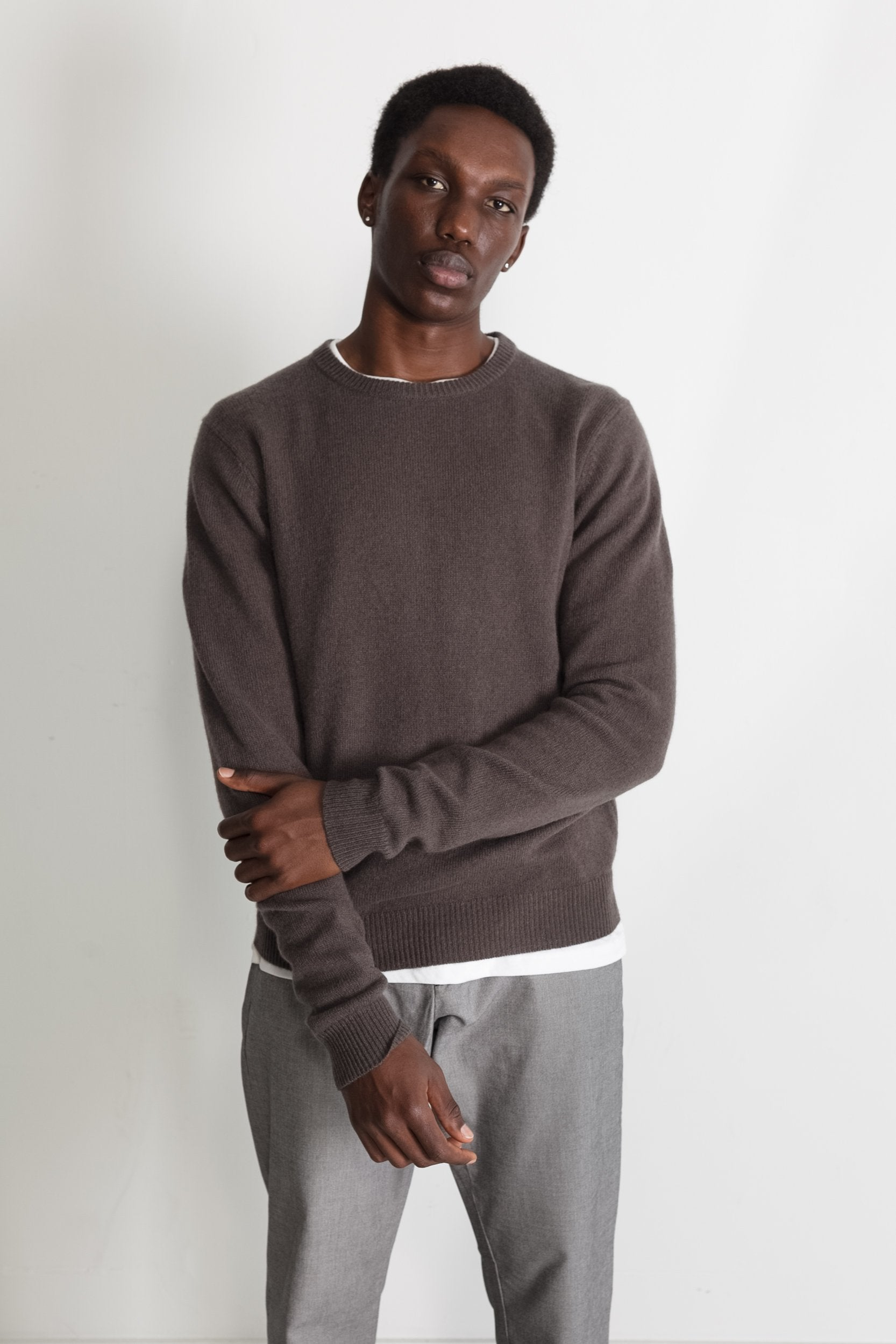New Wool Crew Neck in Taupe 01