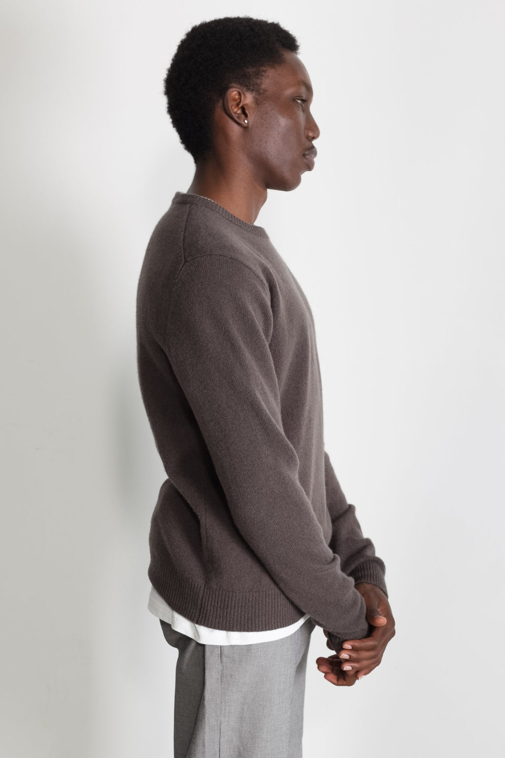 New Wool Crew Neck in Taupe 03