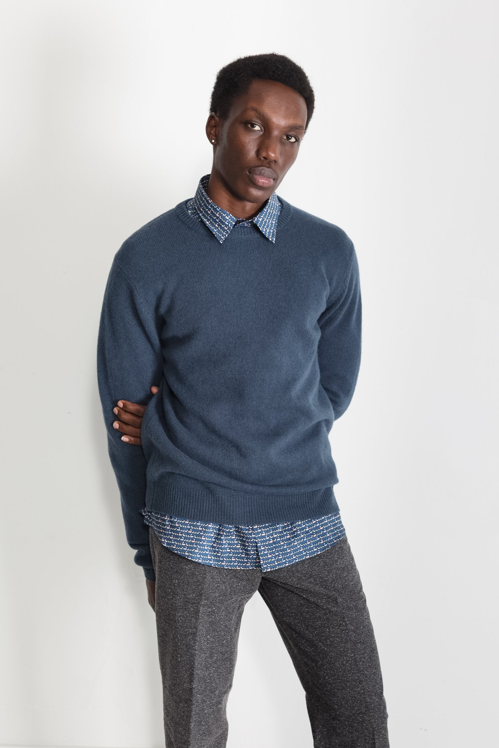 New Wool Crew Neck in Blue 01