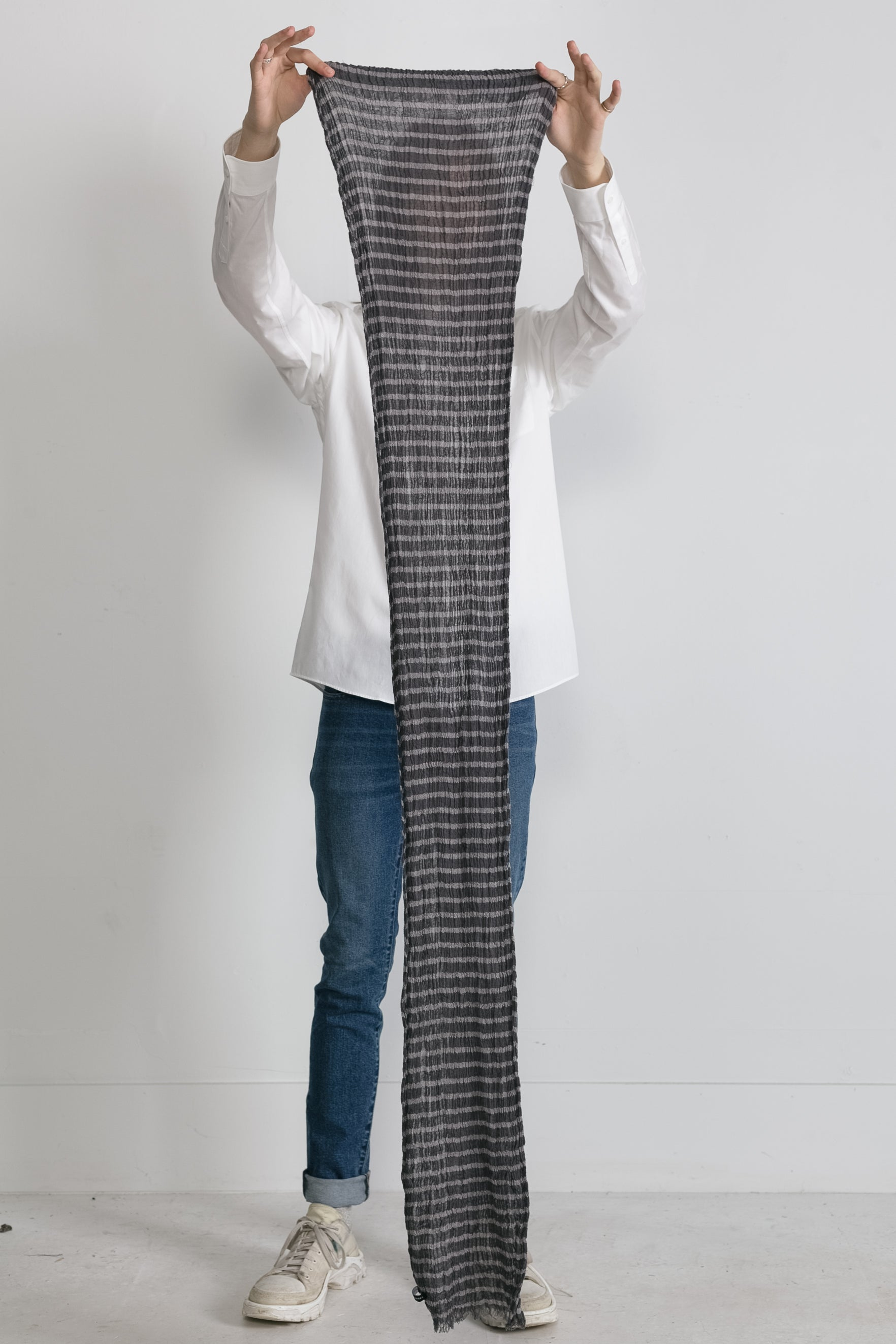 Horizontal Stripe Scarf in Grey 02