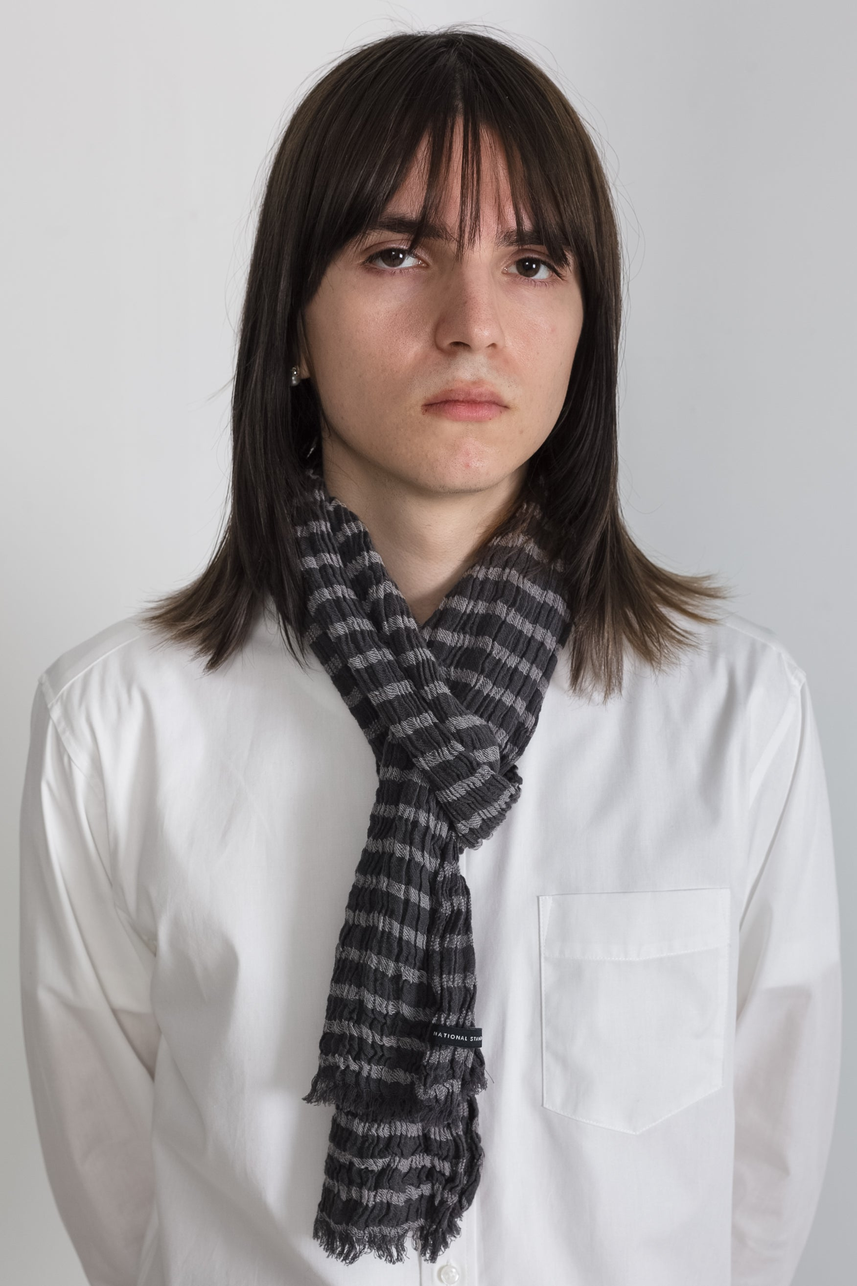 Horizontal Stripe Scarf in Grey 03
