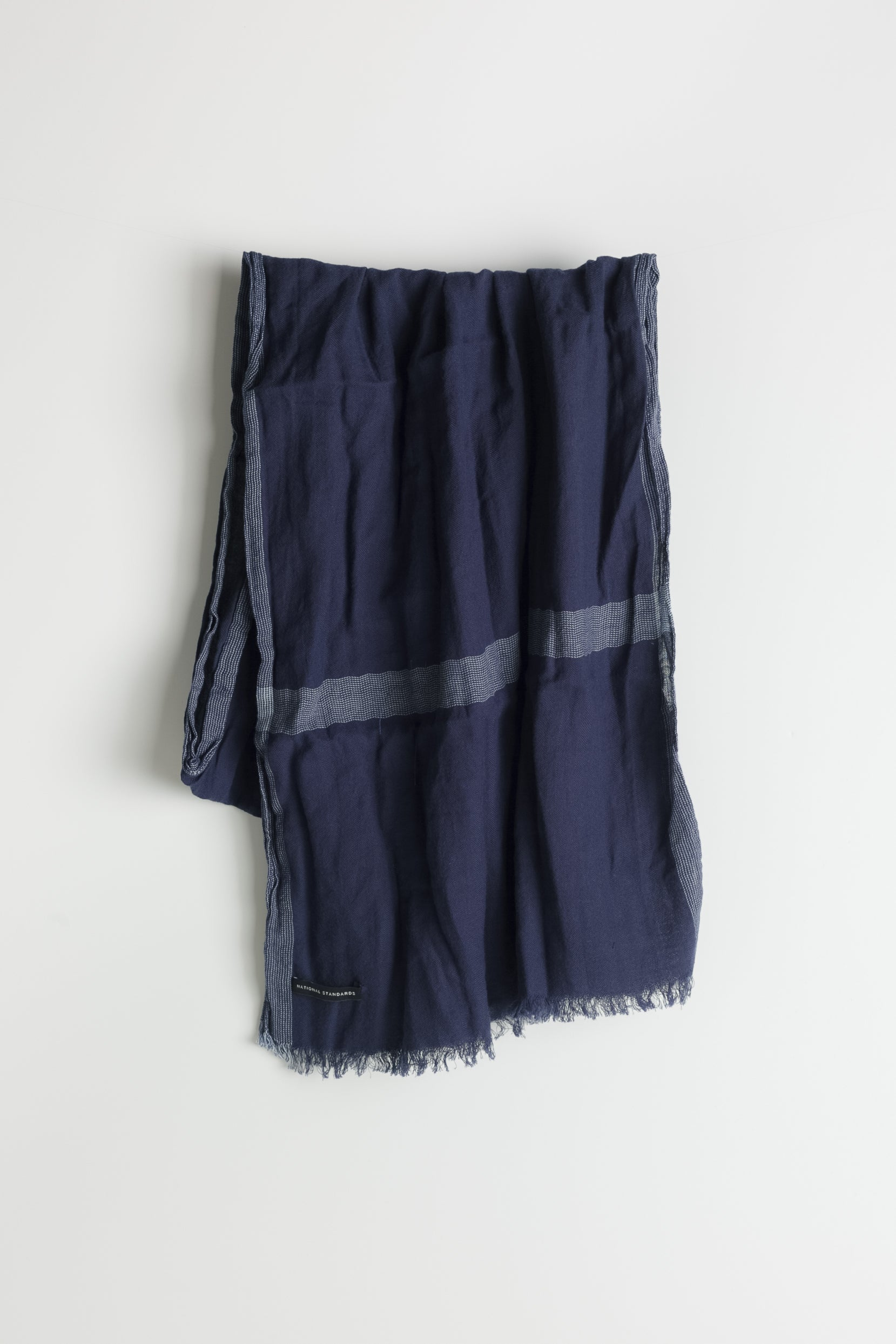 Border Stripe Scarf in Navy 01