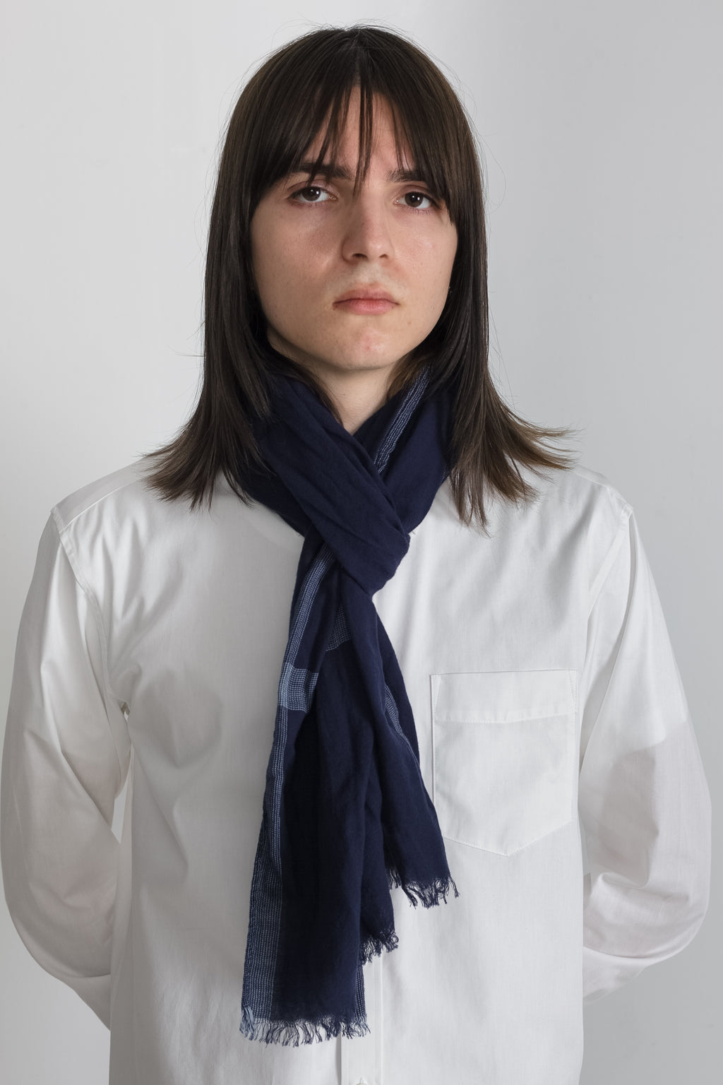 Border Stripe Scarf in Navy 03