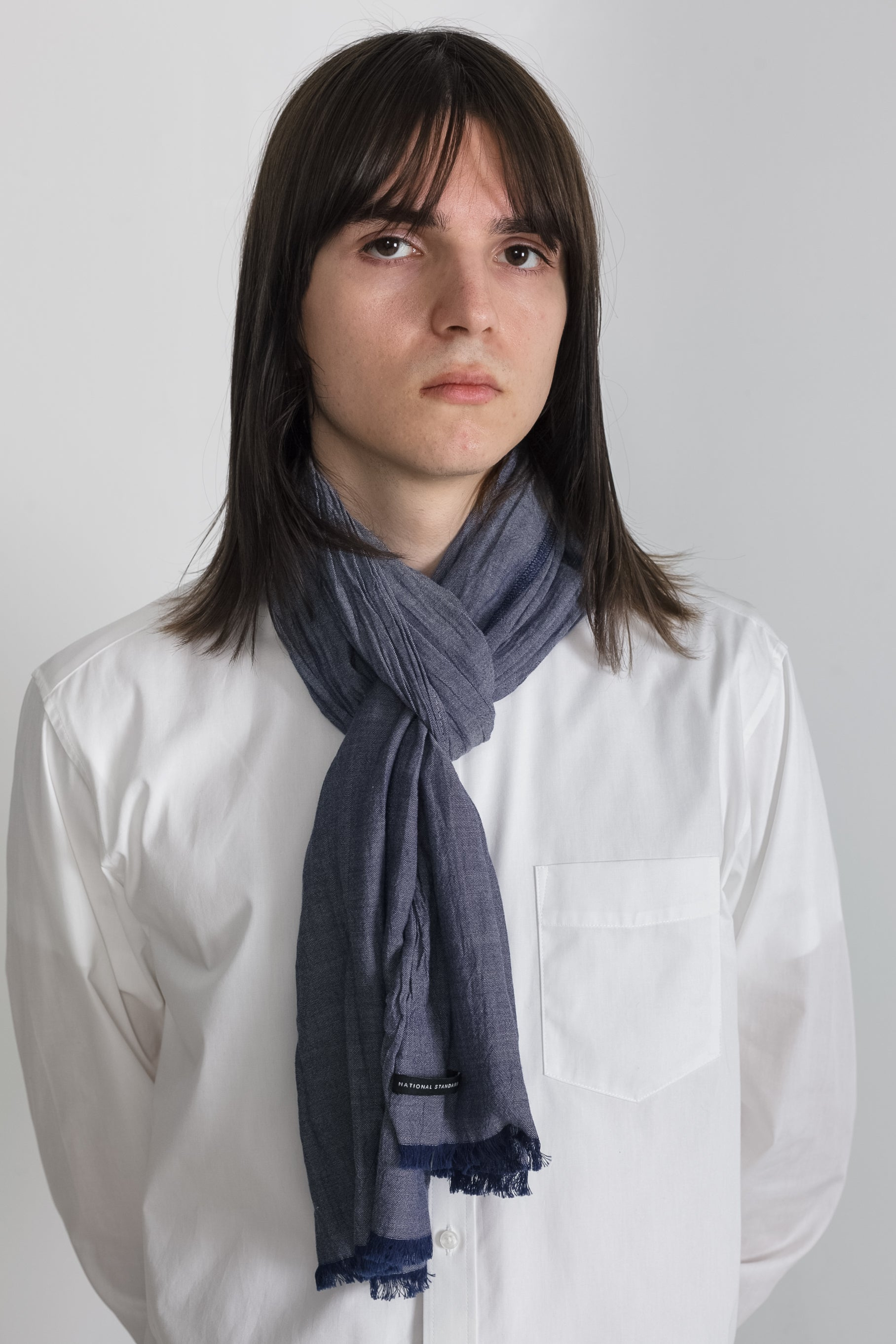 Chambray Scarf in Blue 003