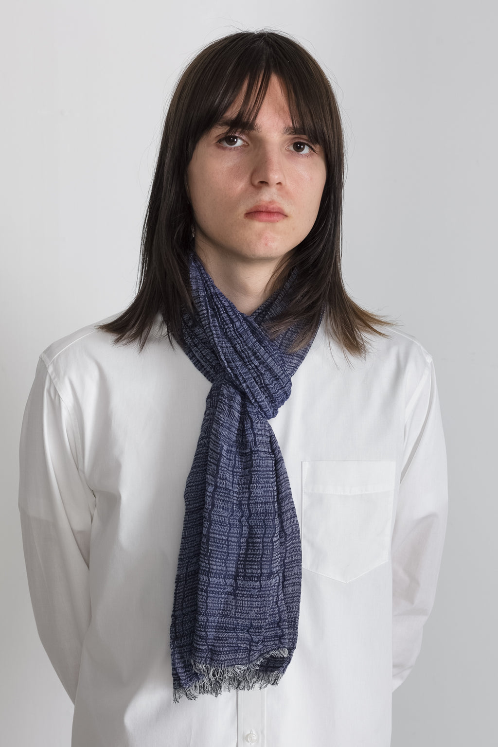 Yarn Dyed Gauze Scarf in Blue 003