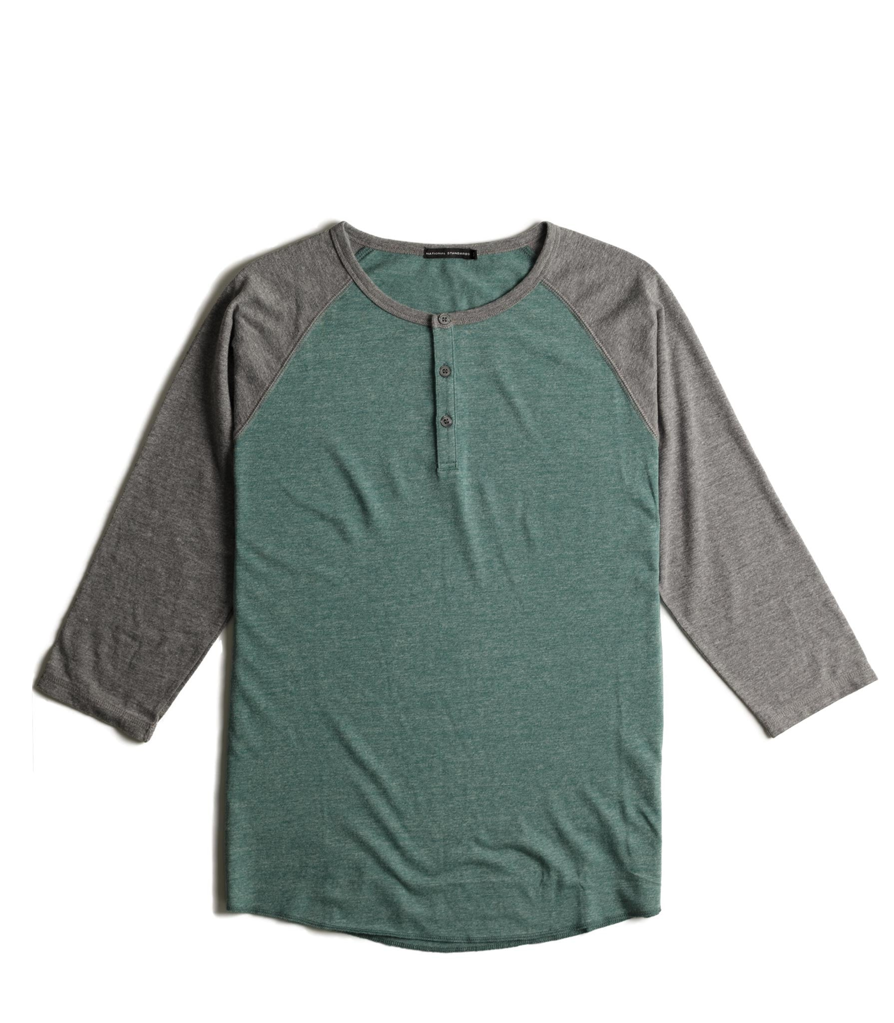 Tri-blend 3/4 henley in Green