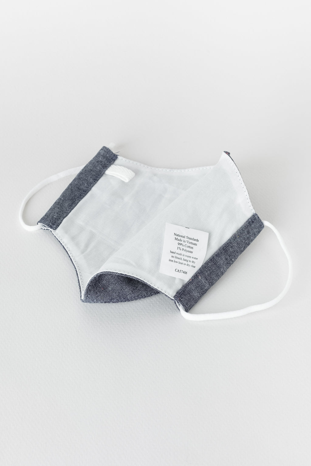 Japanese Colour Nep Chambray Face Mask in Navy 02