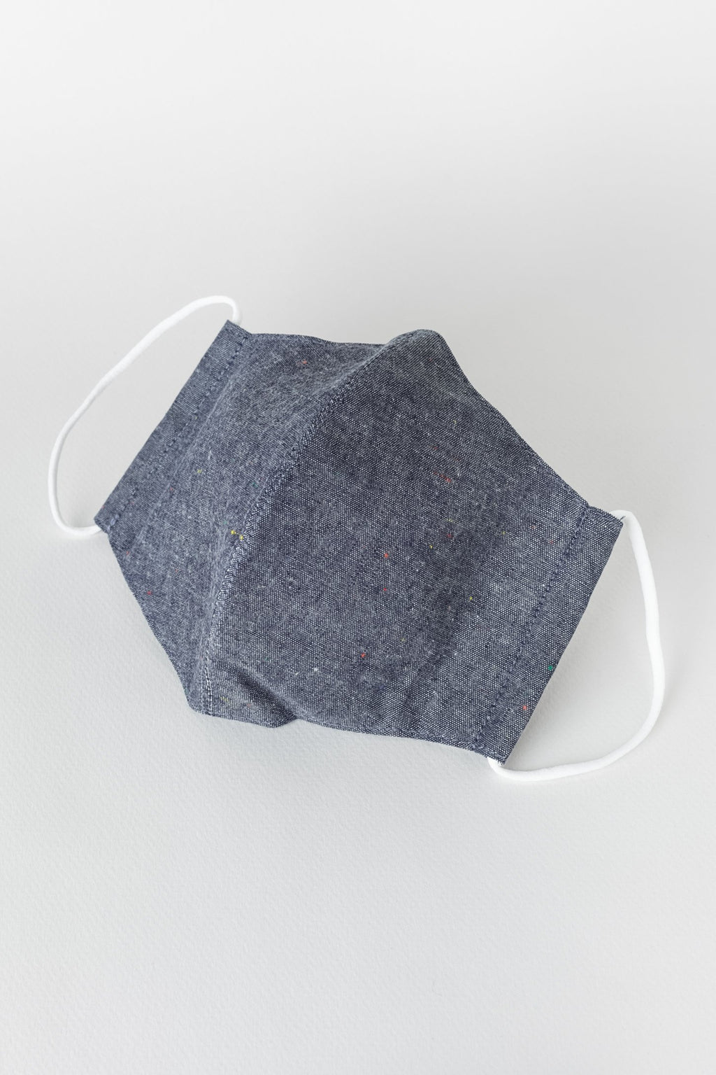 Japanese Colour Nep Chambray Face Mask in Navy 01