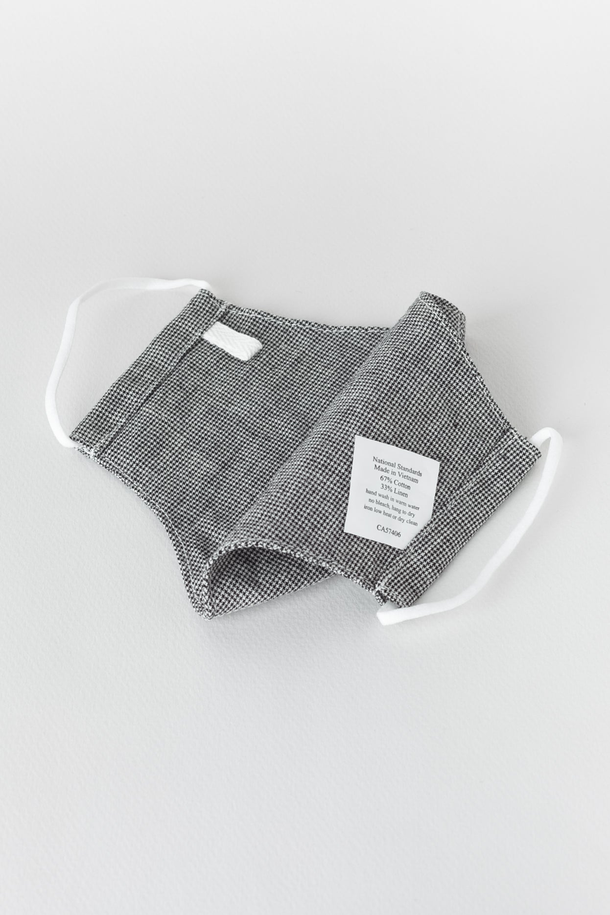 Japanese Mini Houndstooth Face Mask in Black and White 02