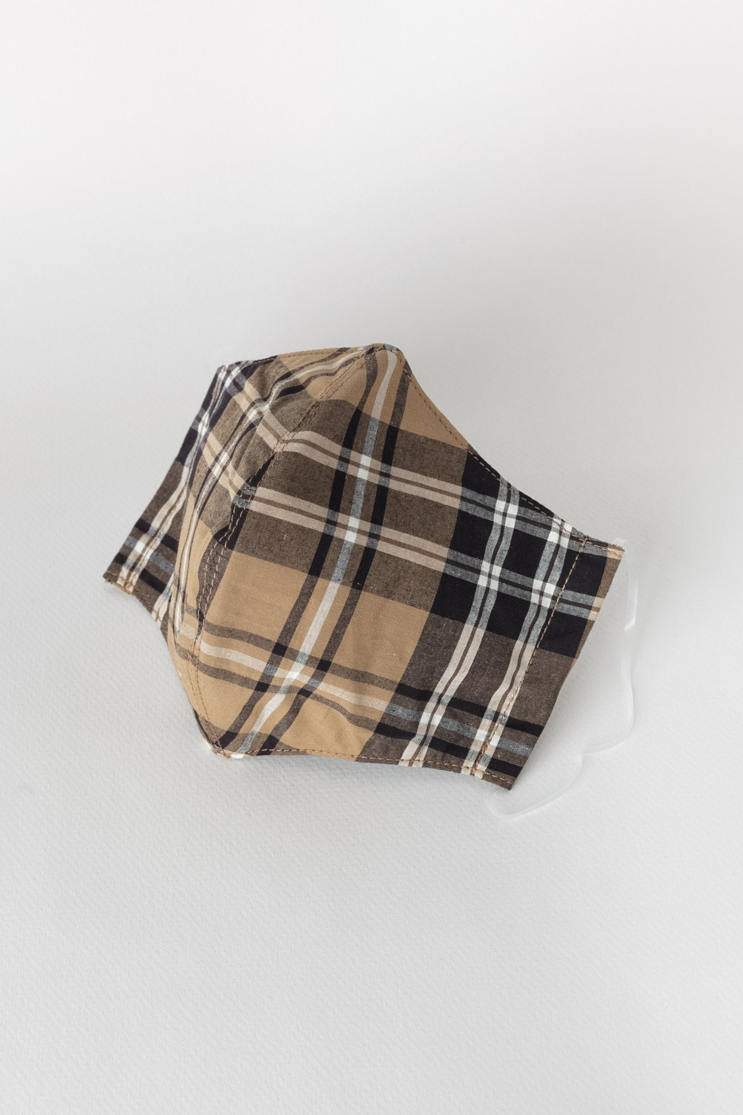 Japanese 40s Tartan Face Mask in Khaki and Black 01