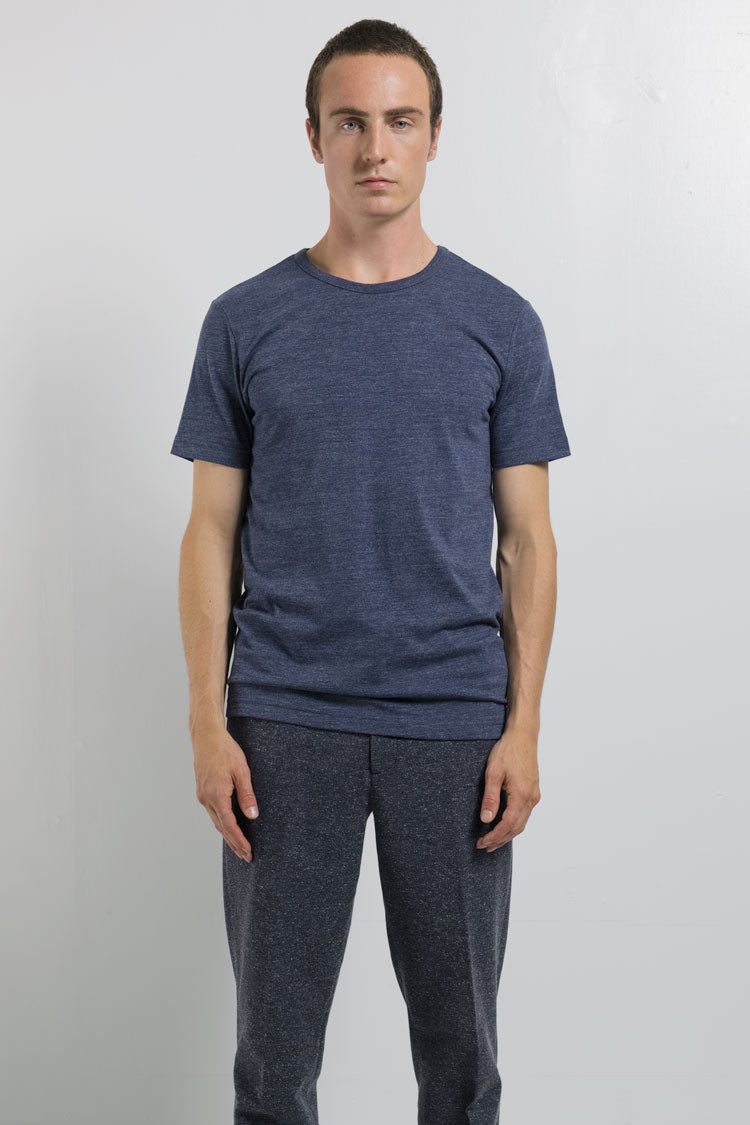 National Standards Tri Blend Crew neck tee in Melange navy, on male