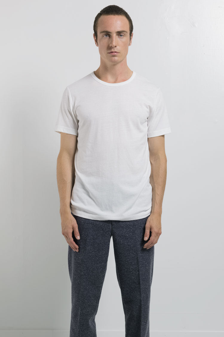 National Standards Tri Blend Crew neck in white on male
