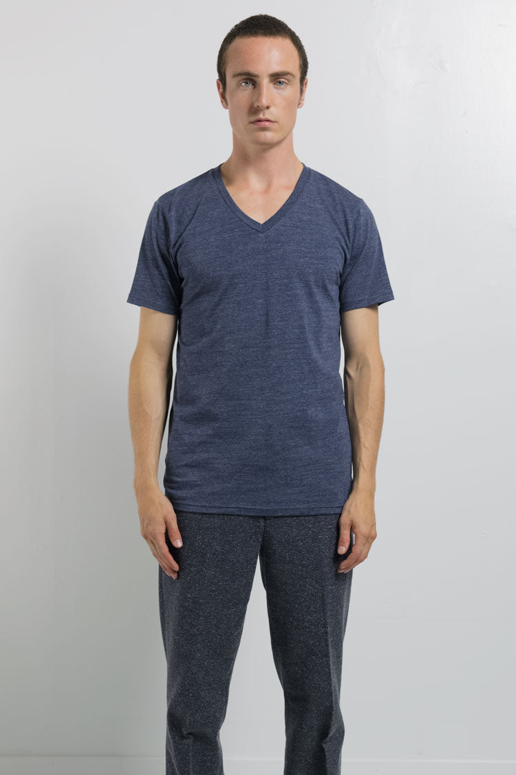 National Standards Tri-Blend V-neck neck tee in Melange Navy on male