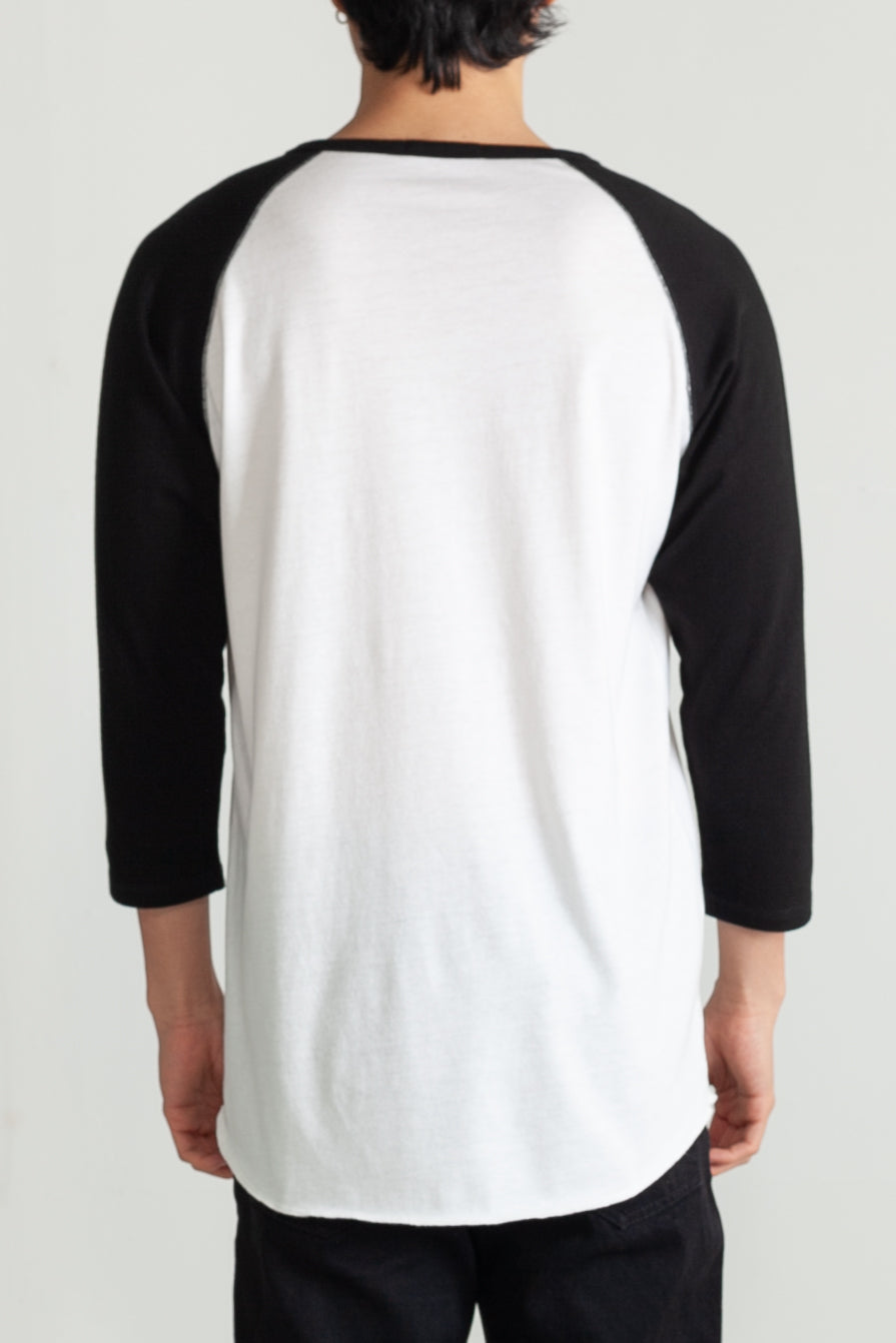 Tri-blend 3/4 henley in White and Black 04