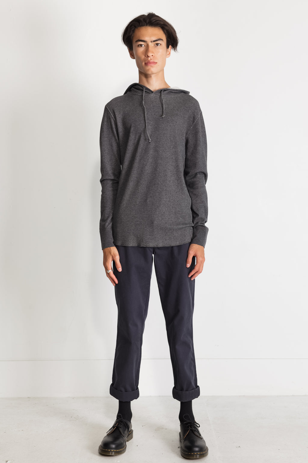NS2155-1 Mesh Thermal Pullover Hoodie in Melange Charcoal
