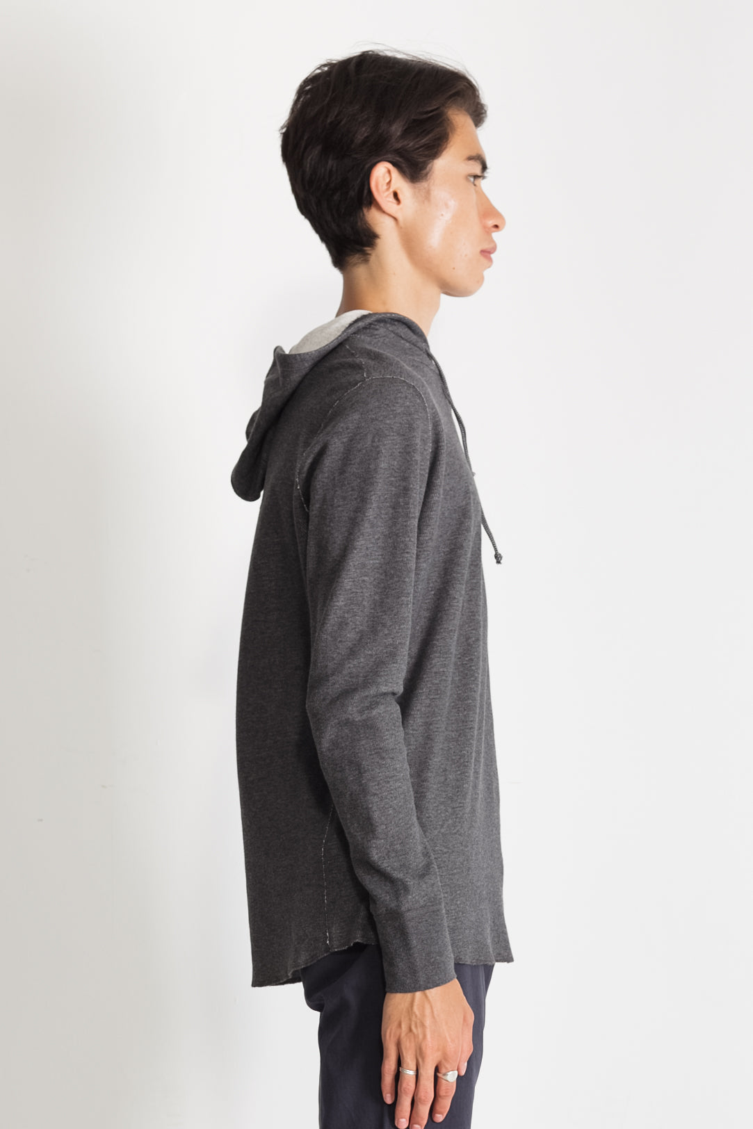 Mesh Thermal Pullover Hoodie in Melange Charcoal NS2155-1