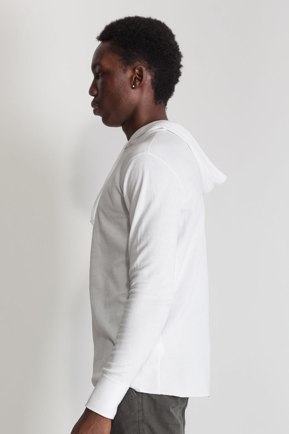 Mesh Thermal Pullover Hoodie in White NS2155-4
