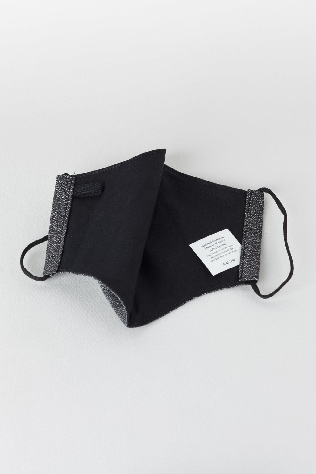 Japanese Melange Drill Face Mask in Melange Black 01