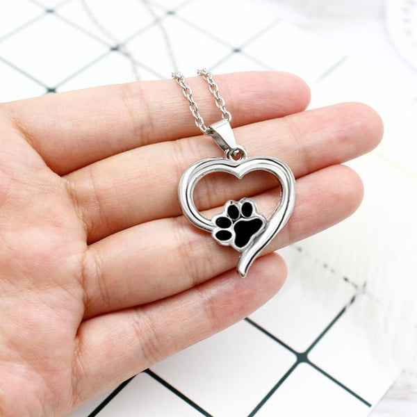 Chat J'adore collier- pendentif Collier Coeur Patte de Chat