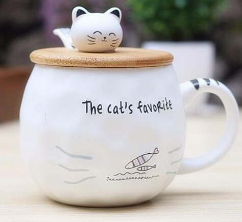 Chat J'adore mug 2 poissons Grand Mug Chat Couvercle et Cuillère