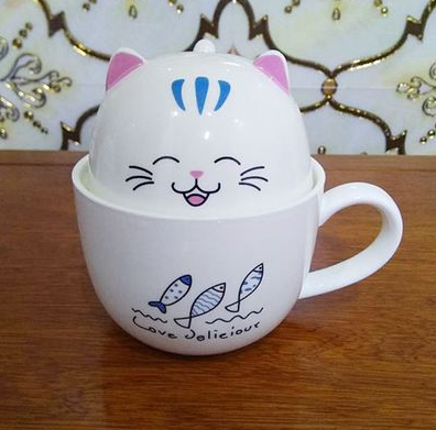 Chat J'adore mug Bleu Ensemble Mug + Bol Chat