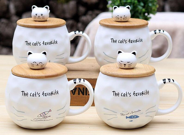 Chat J'adore mug Lot 4 mugs Grand Mug Chat Couvercle et Cuillère
