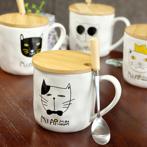 Chat J'adore mug Lot de 4 Grand Mug Couvercle et Cuillère Motif Chat