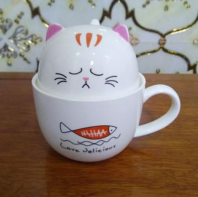 Chat J'adore mug Orange Ensemble Mug + Bol Chat