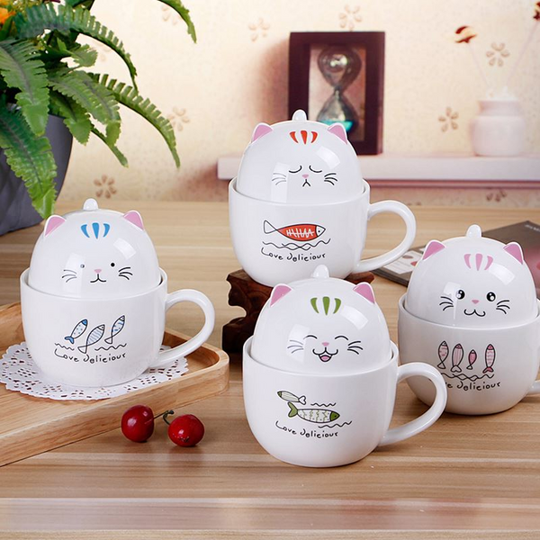 Chat J'adore mug Rose Ensemble Mug + Bol Chat