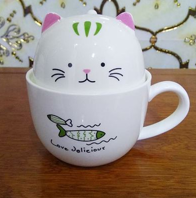 Chat J'adore mug Vert Ensemble Mug + Bol Chat