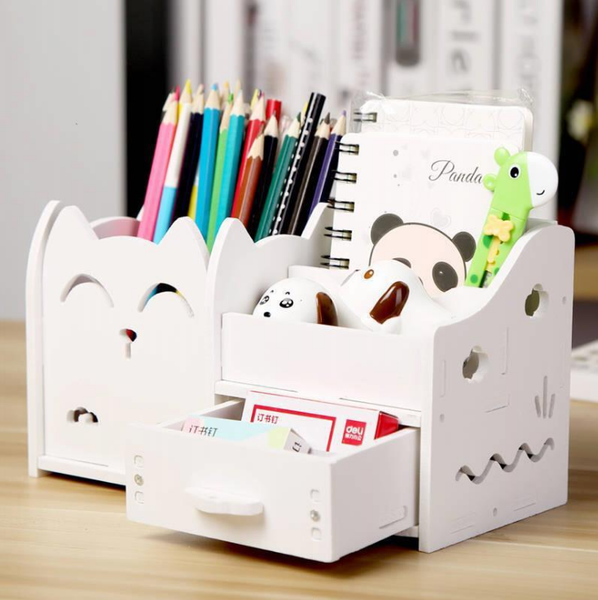 Chat J'adore rangement, trousse Chat 2 / Blanc Porte-stylo Multi-fonctions Chat