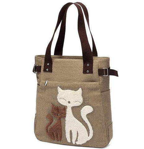 Chat J'adore sac Kaki Sac à Main Maman Chat et Chaton