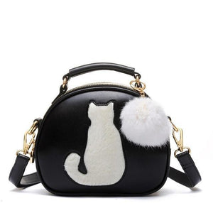 Chat J'adore sac Noir Sac a Main Design Tendance Chat