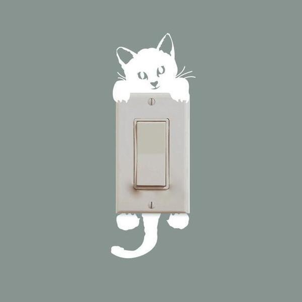 Chat J'adore Stickers, autocollant mural Chat blanc Stickers Interrupteur : Autocollant Mural Chat