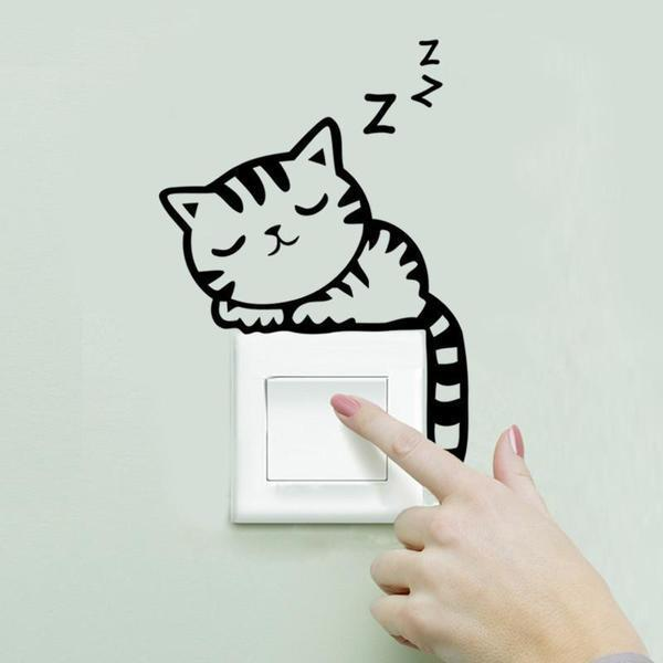 Chat J'adore Stickers, autocollant mural Chat dormant Stickers Interrupteur : Autocollant Mural Chat