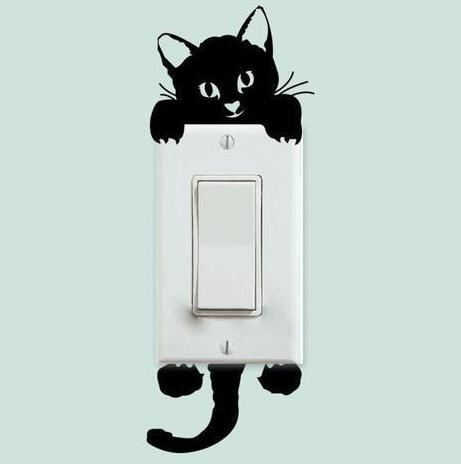 Chat J'adore Stickers, autocollant mural Chat noir Stickers Interrupteur : Autocollant Mural Chat