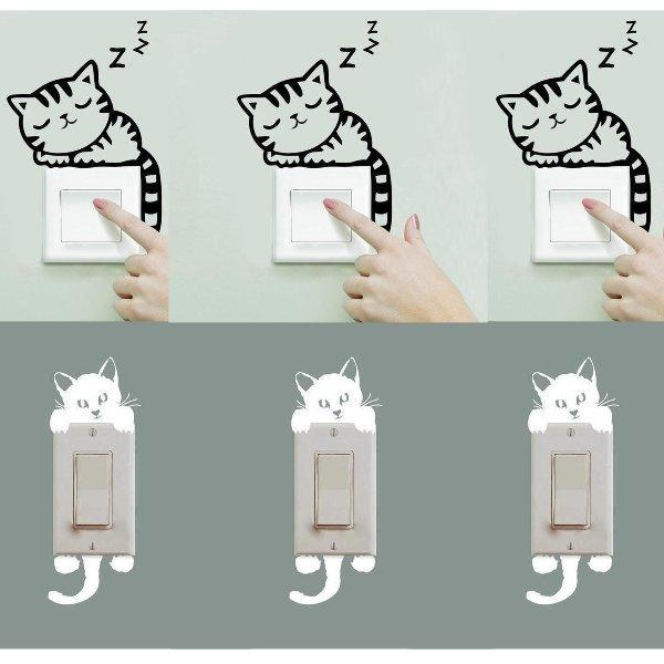 Chat J'adore Stickers, autocollant mural Lot 10 Stickers Interrupteur : Autocollant Mural Chat