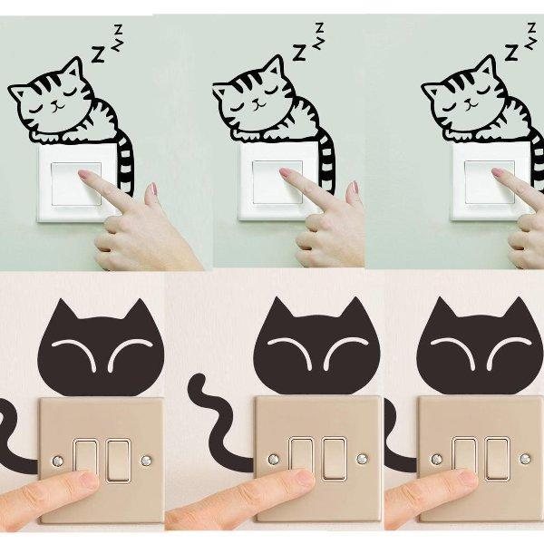 Chat J'adore Stickers, autocollant mural Lot 7 Stickers Interrupteur : Autocollant Mural Chat