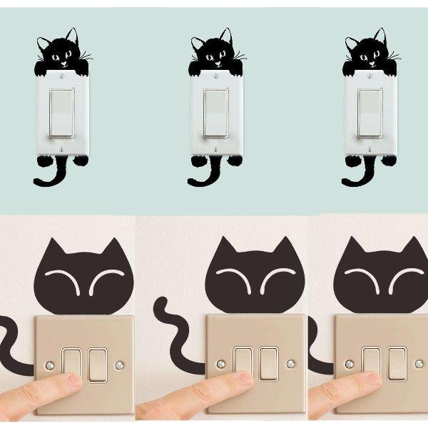 Chat J'adore Stickers, autocollant mural Lot 9 Stickers Interrupteur : Autocollant Mural Chat