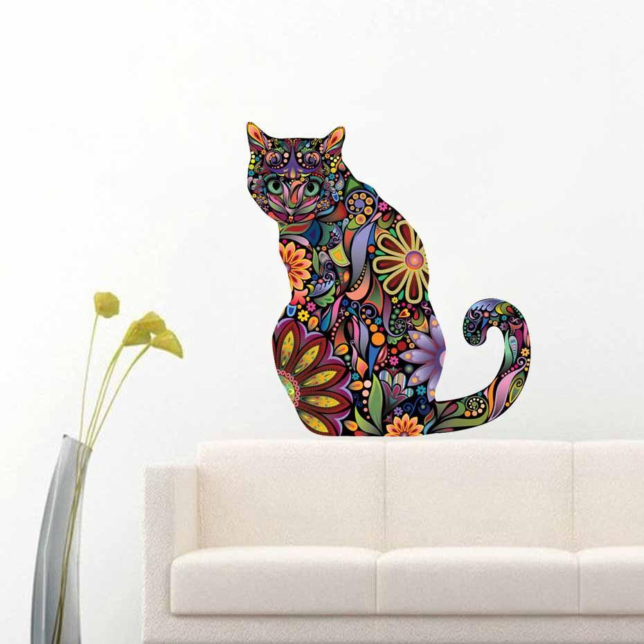 ... Chat Ju0027adore Stickers, Autocollant Mural Stickers Muraux Adhesif Deco  Chat Assis ...