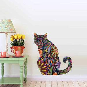 Chat J'adore Stickers, autocollant mural Stickers Muraux Adhesif Deco Chat Assis