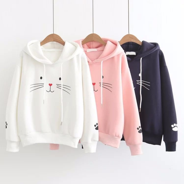 Adorable Pull / Sweat-Shirt à Capuche Chat