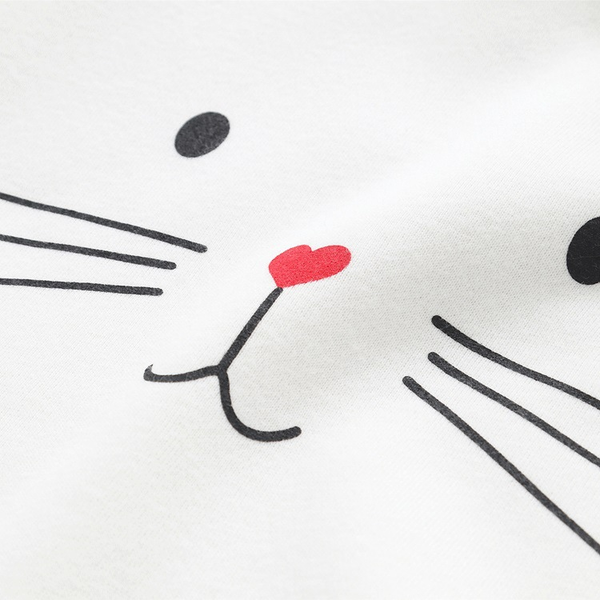 Chat J'adore Sweat Blanc / M Adorable Pull / Sweat-Shirt à Capuche Chat