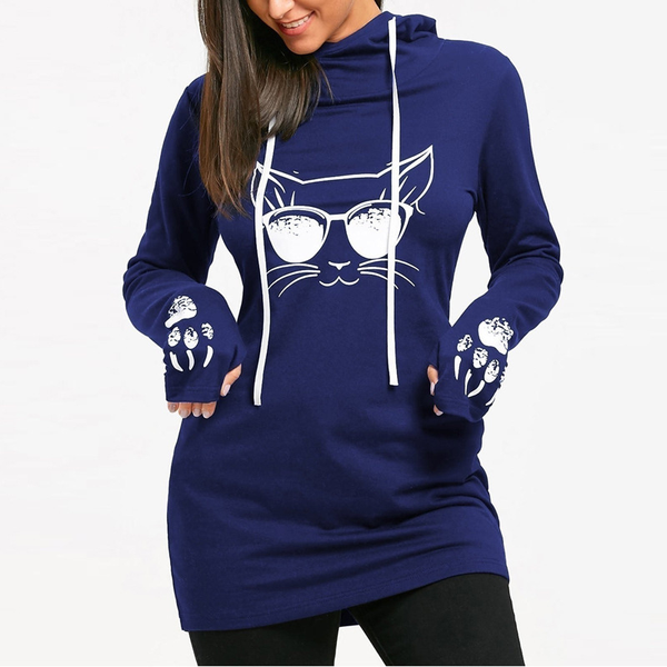 Chat J'adore Sweat Bleu / M Long Pull Sweat-Shirt à Capuche Tête de Chat