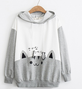 Chat J'adore Sweat Gris / L Pull Chaton et Poissons à Capuche